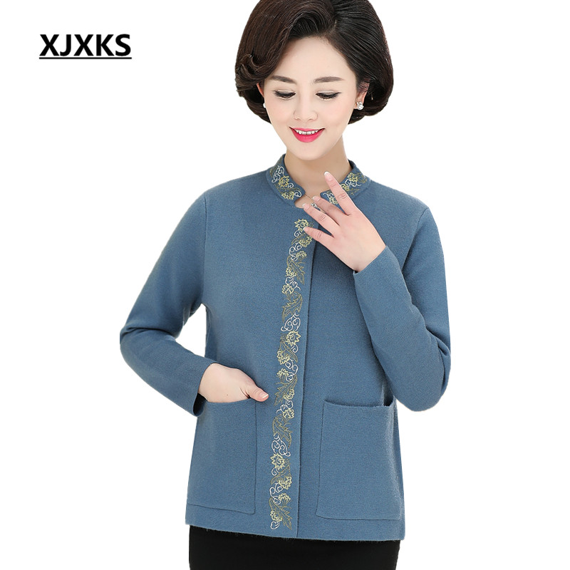 XJXKS Loose large size knitting jacket women 2019 spring new embroidery comfortable cashmere women s sweater