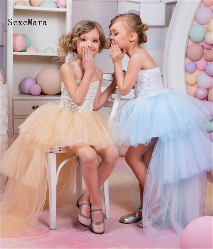 Gorgeous Custom Girls Dresses for Birthday Party Lace Puffy Tulle High Low Style Flower Girl Dress for Wedding Pageant Gown white lace flower girls dresses for wedding party high low crew neck tulle zipper back girls pageant gown birthday party dress