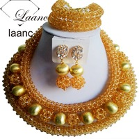 laanc Big African Gold Jewelry Sets for Women's Nigerian Wedding African Beads Necklace Earring AL075