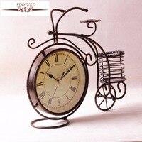 Retro Bicycle Clock Metal Desk Clock Watch Table Clock Vintage Home Decor Metal Decorations Living Room