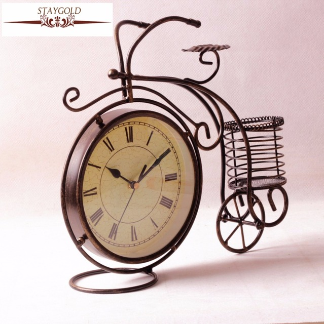Retro Bicycle Clock Metal Desk Clock Watch Table Clock Vintage Home Decor  Metal Decorations Living Room