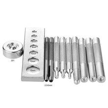 Set of 11 Die Punch Tool Snap Rivet Setter Base Kit For DIY Leather Craft Tools