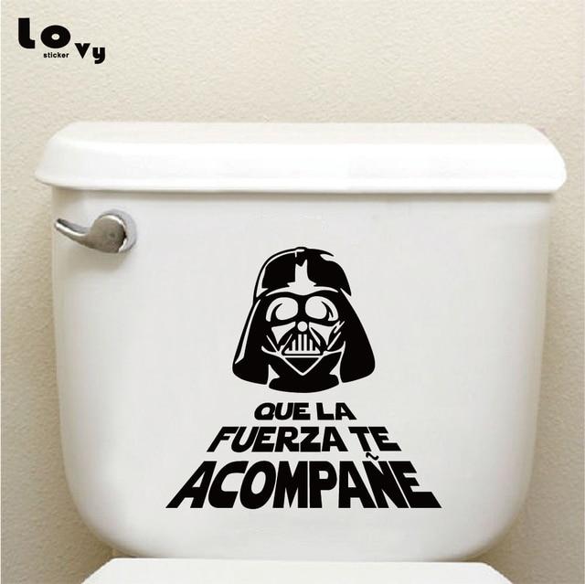 Spanish Star Wars Vinyl Wall Sticker Quote WC Toilet Stickers Cartoon Wall Art Decal Home Decor TS088