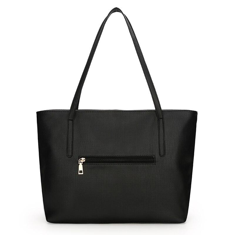 Sac à main femme SA uni noir blanc couleur sac à bandoulière Durable toile décontracté fourre-tout grande capacité sac à provisions sac à main 3 ensembles - 4