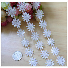 White Embroidered Daisy Flower Lace Trim Applique Headband Craft Sewing 1Yard Knitting DIY Handmade Patchwork Ribbon on
