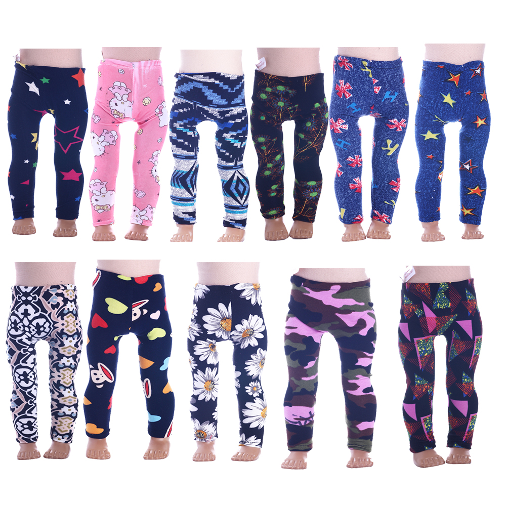 15 Styles Doll Clothes Leggings Tight Pants Fit 18 Inch American Doll & 43 Cm Baby Doll Clothes For Our Generation Girl`s Toy