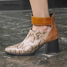 women fashion runway ankle buckle boots chunky high heels vintage python pattern pointed toe party booties back zip plus size knsvvli new genuine leather ankle boots women chunky high heels pointed zip martin boots metal buckle decorate woman booties