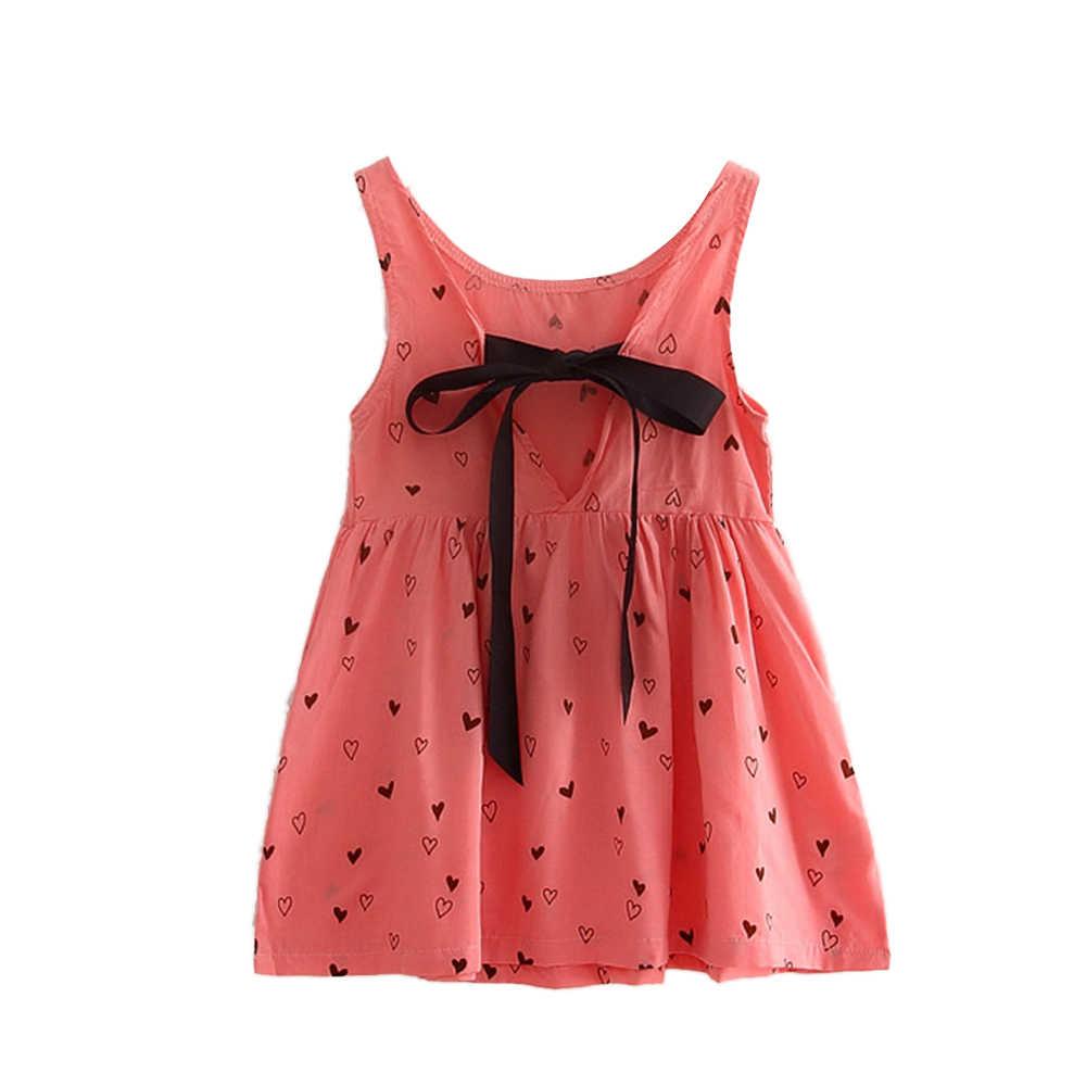 2019 kız çocuk yaz elbisesi pamuk kız kolsuz Backless aşk Croc desen elbise