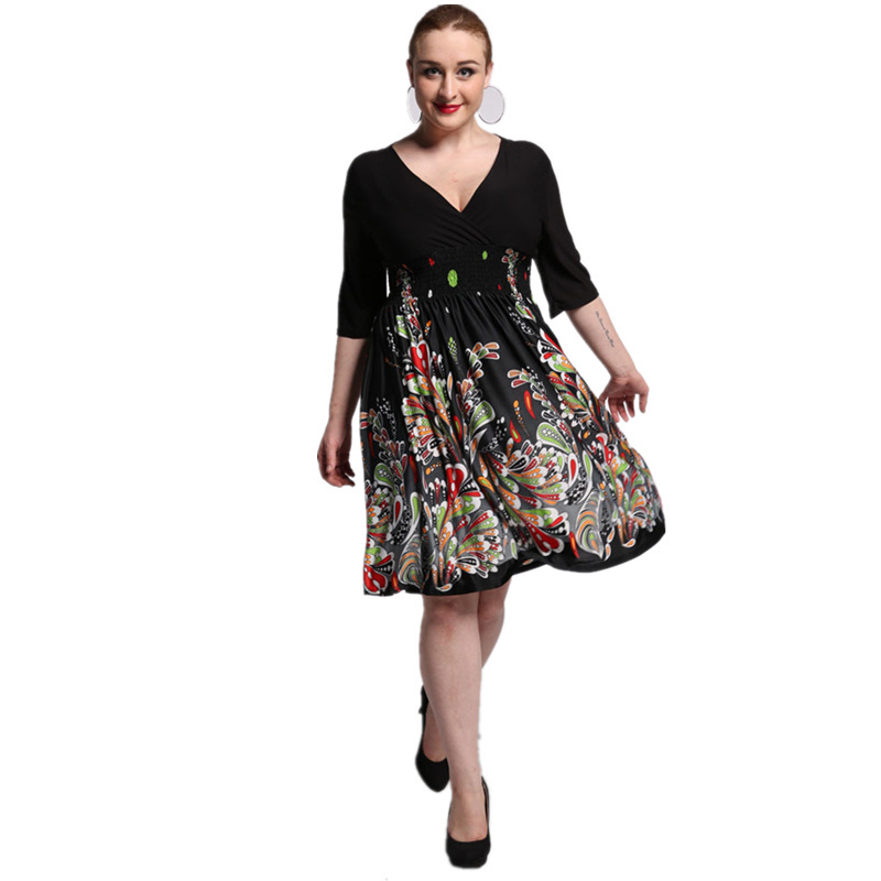 2017 New Women Summer Boho Dress Ladies Vestidos Largos Robe Femme Print Beach Dress Plus Size 6XL 7XL Bohemian Maxi Dresses