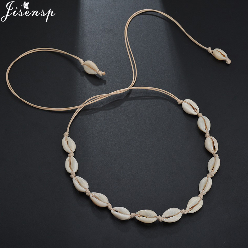 Jisensp Natural Summer Beach Shell Choker Necklace Simple Bohemian Seashell Necklace Jewelry for Women Girls Birthday