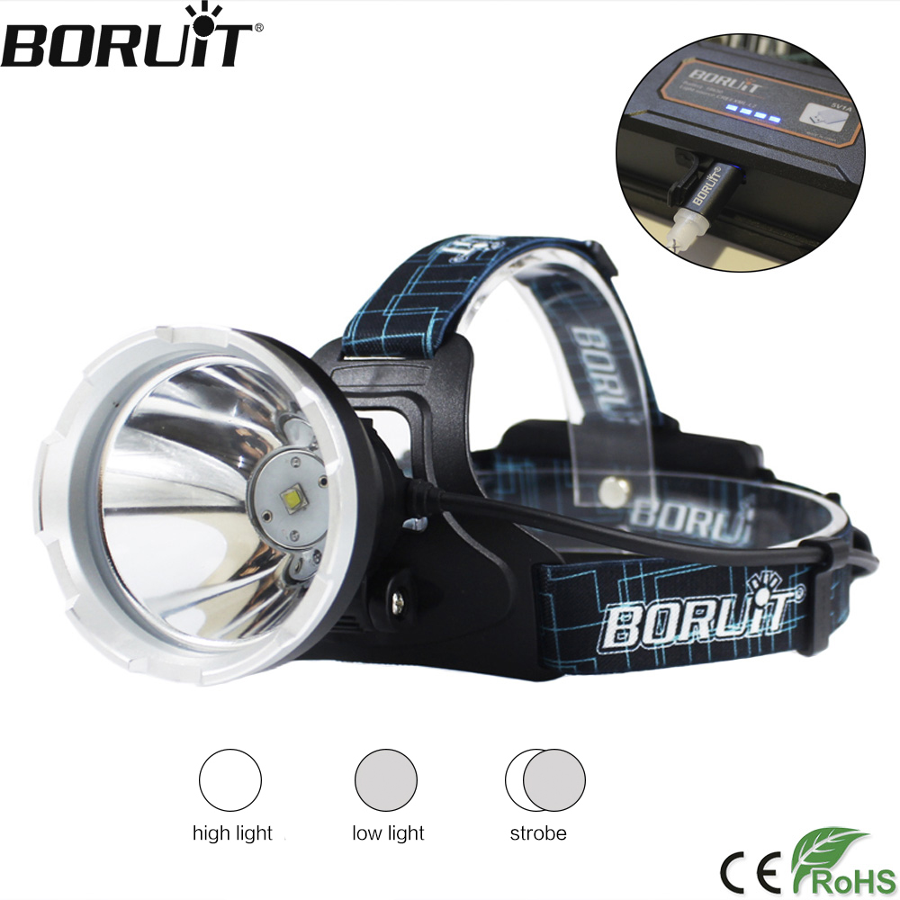 BORUIT B10 XM-L2 LED Headlamp 3-Mode 6000LM Headlight Micro USB Isi Ulang Kepala Torch Camping Berburu Tahan Air Senter