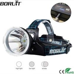 BORUIT B10 XM-L2 LED Headlamp 3-Mode 6000LM <font><b>Headlight</b></font> Micro USB Rechargeable Head Torch Camping Hunting Waterproof Flashlight
