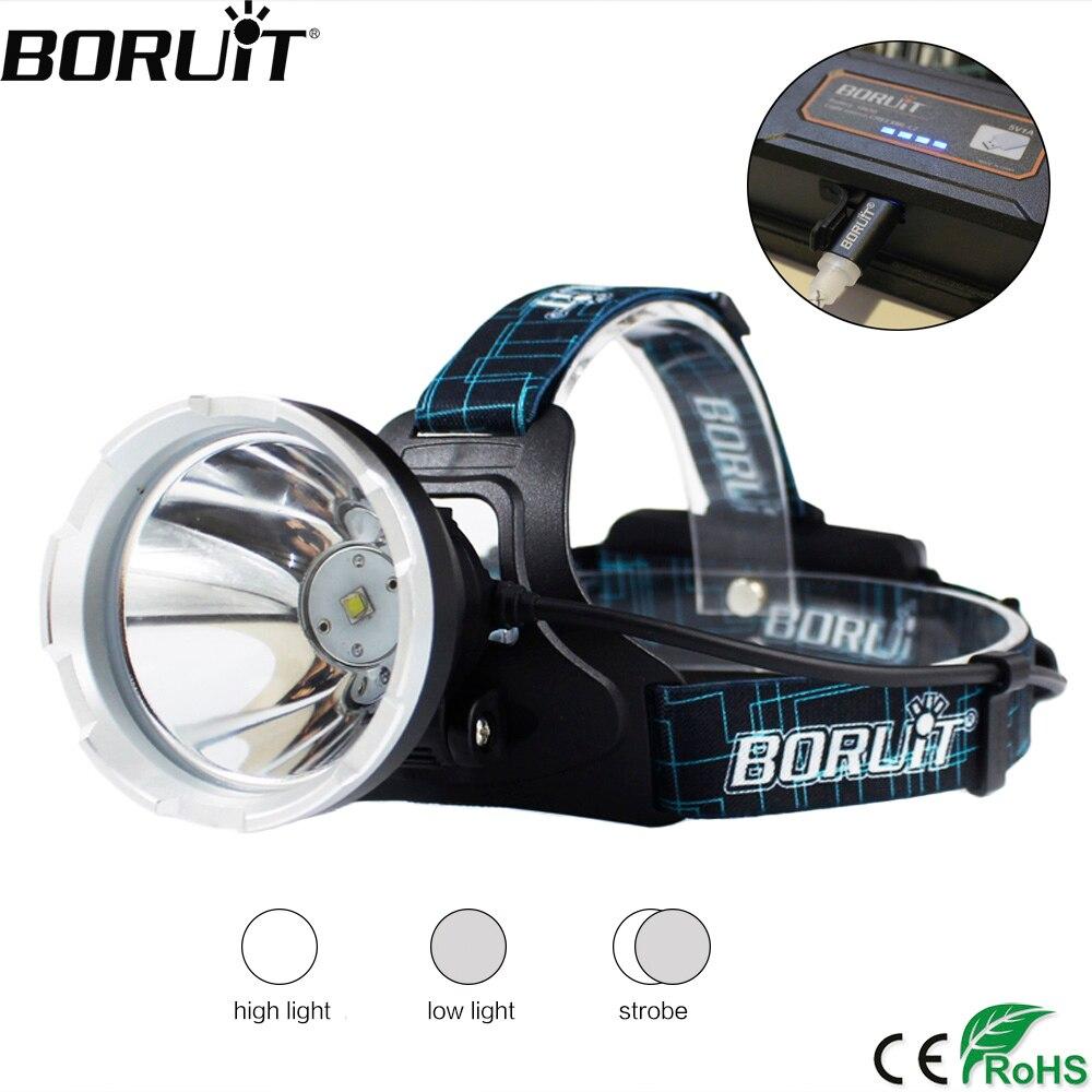 BORUIT B10 XM-L2 LED Scheinwerfer 3-Modus 3800LM Scheinwerfer Micro USB Aufladbare Kopf Taschenlampe Camping Jagd Wasserdichte Taschenlampe