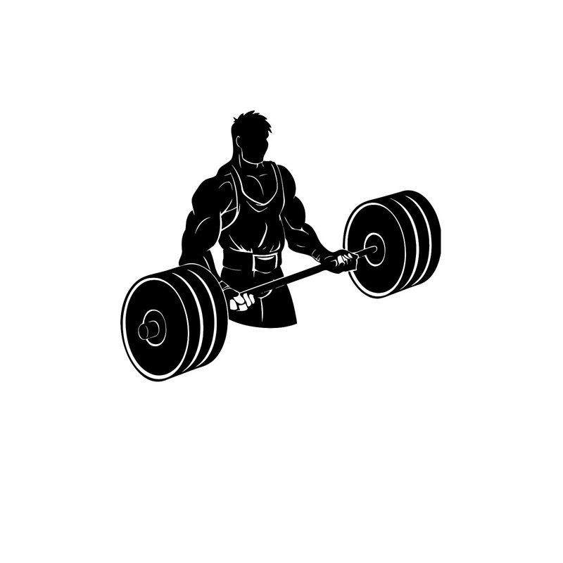 16.2CM*13.7CM Bodybuilding Silhouette Powerlifting Weightlifting Vinyl Car Sticker Black/Silver S9-0153