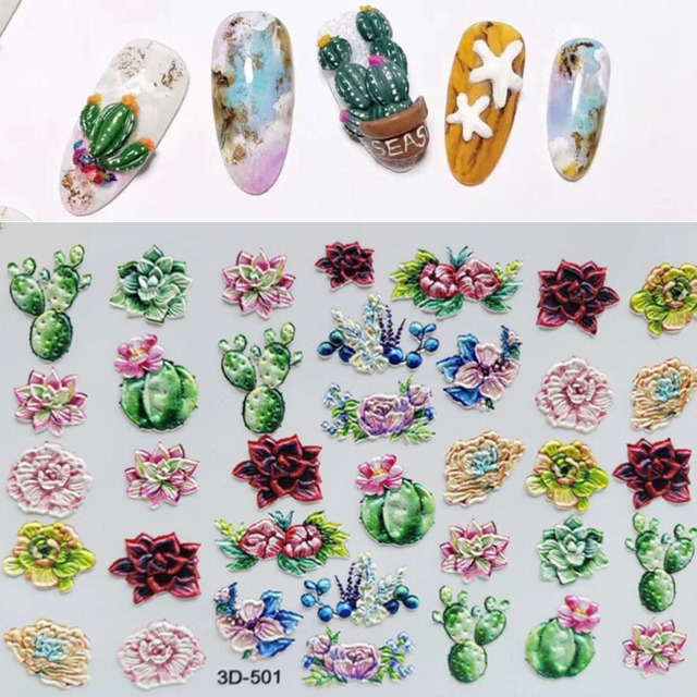 Fashion 3D Stickers Acrylic Engraved Flower Plant Nail Sticker Embossed Flower Nail Water Decals Empaistic Nail Slide Decals