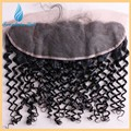 TOP 7A Virgem Malásia Cabelo Encaracolado Fechamento de Renda Frontal Com O Bebê Orelha A Orelha cabelo Profunda Curly Lace Frontal Não Transformados Cabelo Humano