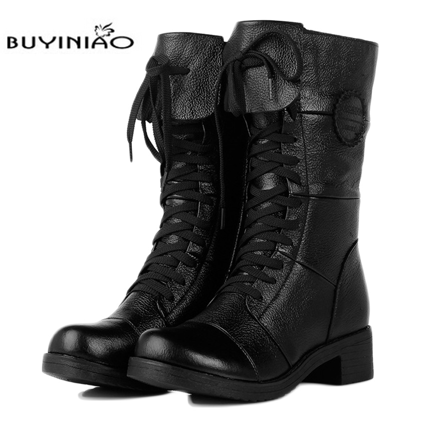 Free Shipping 2017 winter women's leather casual Martin mid heel boots Plus cotton warm Mid-calf boots high quality 105yw nuckily men mid calf socks warm cotton made