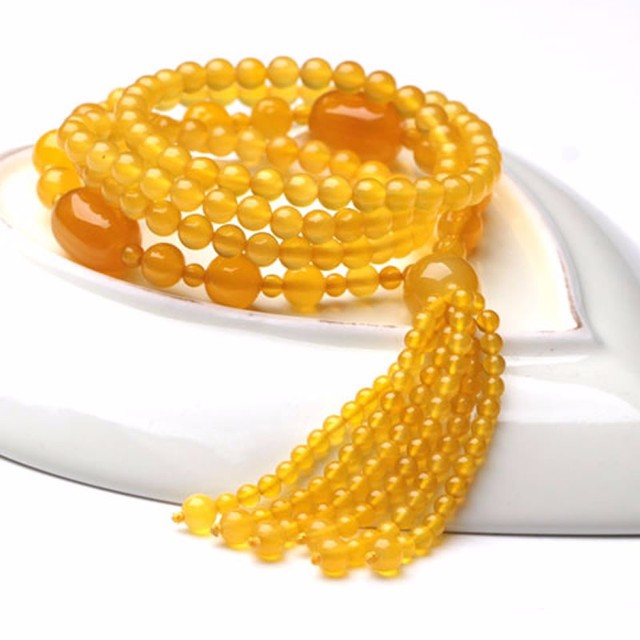 100% Natural Grade A Yellow Agate 6mm Beads Necklace Length 31inch fashion