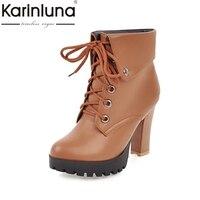 KARINLUNA 2017 Large Size 34 43 Platform Add Warm Plush Women Shoes Fashion High Heels Woman