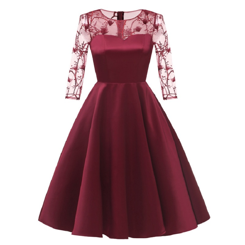 summer dress 2019 new arrival long sleeve formal dress women elegant lace floral dresses plus size women clothes free shiping in Dresses from Women 39 s Clothing