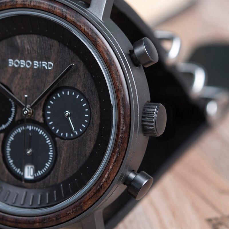 BOBO BIRD Men Wood Watches Leather Strap Stylish Design Top Quartz Wristwatch Relogio Masculino In Wood Watches Box R01 Dropship
