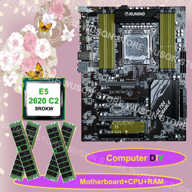 Fourniture de matériel informatique Runing X79 carte mère CPU Intel Xeon E5 2620 SROKW 2.0 GHz mémoire 64G (4*16G) 1600 MHz DDR3 REG ECC