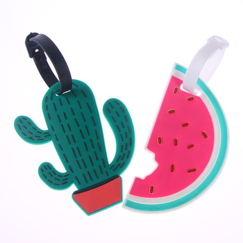1PCS Cute Cactus Watermelon Fruit Luggage Tag Suitcase Name ID Address Tags Fashion Silicon Label Bag Tag Travel Accessories Travel Accessories