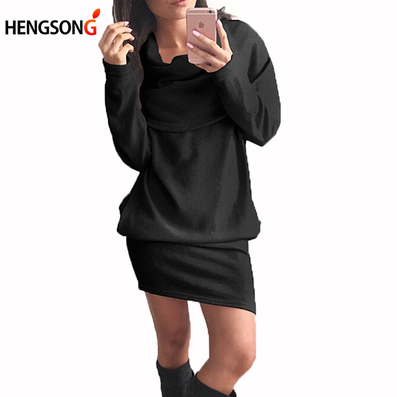 Autumn Fashion Pink White Black Dress Women Sweater Dress