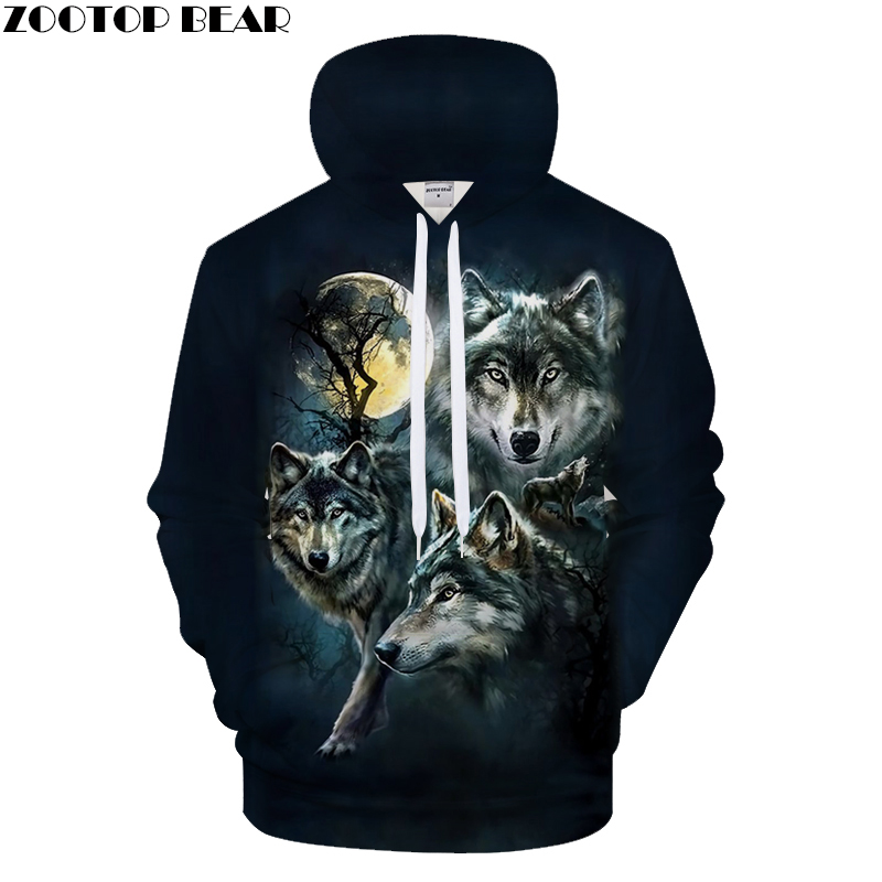 Black Hoodies Wolf Hoody Men Sweatshirts Anime Tracksuit 3D Pullover Harajuku Coat Streatwear Brand Quality DropShip ZOOTOPBEAR