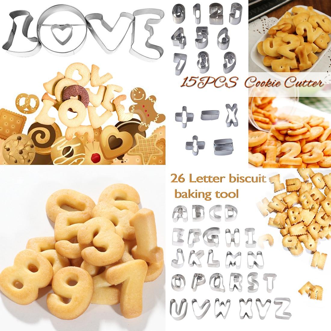 para tartas Molde para hornear 26 letras galletas y pan acero inoxidable 430 moldes de metal para hornear waffles 26/_letters Kitchen Tools chocolates
