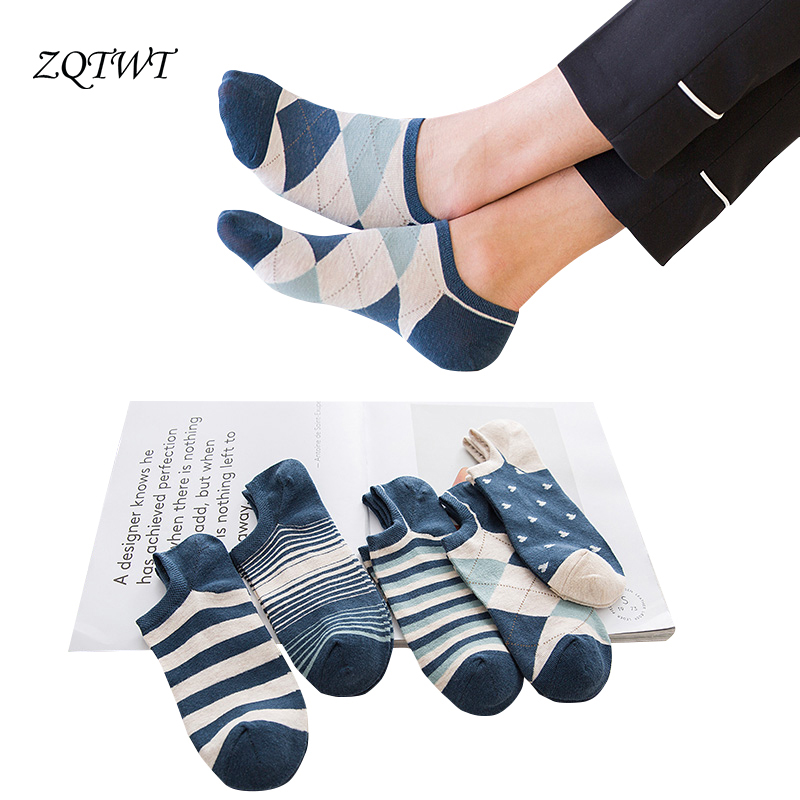 ZQTWT 5 Pair/Lot Fashion Harajuku   Socks   Men Sokken Short Calcetines Casual   Socks   Male Cotton   Sock   Sox Meias 3WZ407