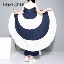 TWOTWINSTYLE Striped Chiffon Shirt For Women Sleeveless Stand Collar Draped High Waist Asymmetrical Long Blouse Summer Harajuku