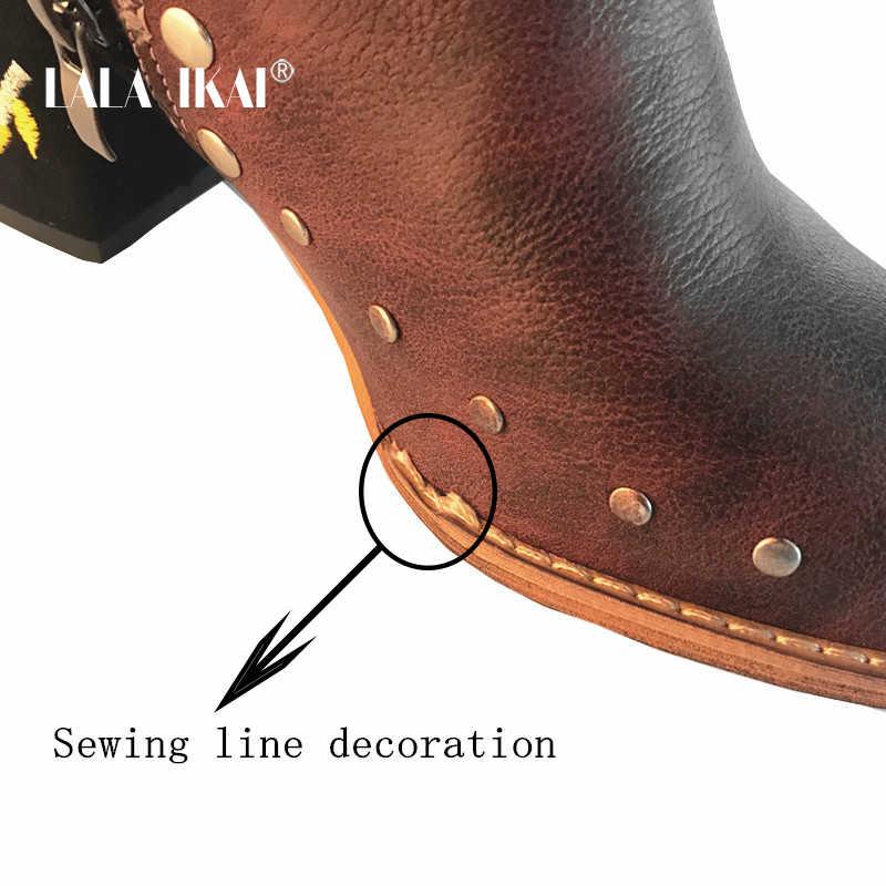 LALA IKAI femmes broder haute cheville chaussures bottes vin rouge troupeau PU cuir grande taille Zipper Rivet fleur chaussures 014C2292-49