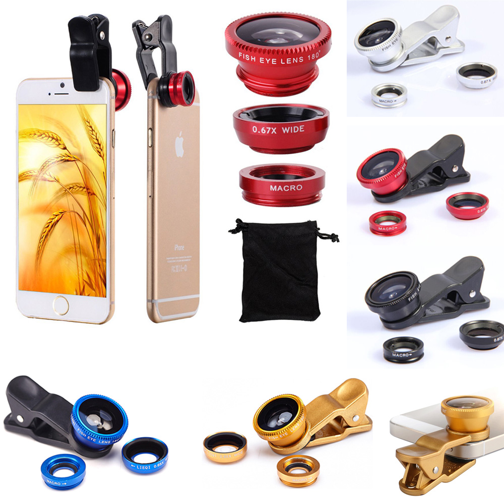 KOYOT Fish Eye Lenses, Wide Angle, Macro mobile Phone Lenses 3 in 1 Universal Smartphone Lens For Ip6S plus 5S 4S huawei xiaomi