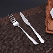 4 pcs/Sets Luxury Silver Cutlery Set Steak Knife Table Fork Teaspoon Teaspoons Dinnerware set Kitchen Tableware Christmas gifts