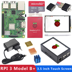 Original Raspberry Pi 3 Model B Plus with WiFi&Bluetooth+3.5 inch Touchscreen+Power Adapter+Case+Heat Sink for Pi 3 B Plus 3B+