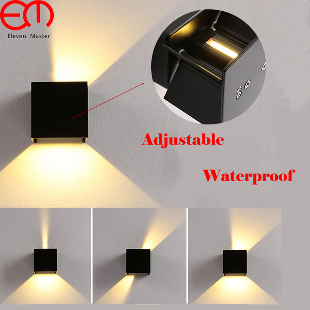 Modern Cube Adjustable Surface Mounted 7W LED Wall Lamp Outdoor Waterproof IP65 Porch Wall Lights Garden Light Sconce GWL081