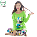 LIKEPINK 2017 Primavera Ratos Dos Desenhos Animados do Ponto Pijamas Mulheres Pijama Conjuntos de Pijama De Algodão Mujer Femme Feminino Manga Longa Sleepwear Verde