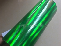 Holographic Green Chrome Car Wraps 1.52x20m/roll Rainbow Laser Chrome Holographic vinyl sticker with bubble free