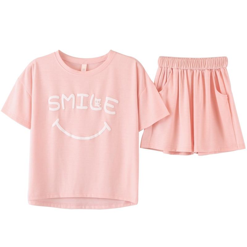 Nieuwe pyjama's dames korte mouw los roze katoen schattige roze brief - Dameskleding