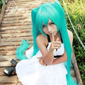 Women's Cyan Wig Hatsune Miku Wigs With Bangs Short Straight Hair Cosplay Straight Hair