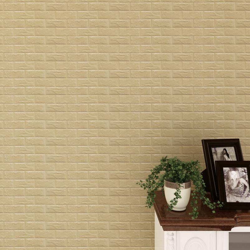 PE Foam 3D DIY Wall Stickers Wall Decor embossed brick wallpaper ...