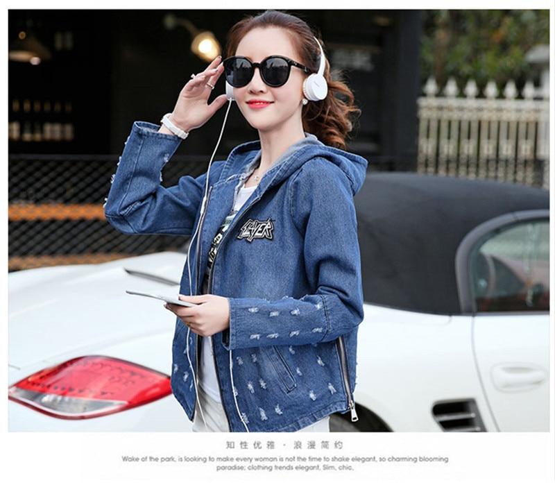 Date Plus Femmes Longues Trou Belle Jeans Avec Taille Veste Blue light Dark Manteau Printemps Denim Automne Kawaii Blue Base Manches Capuche De 8xrqF8