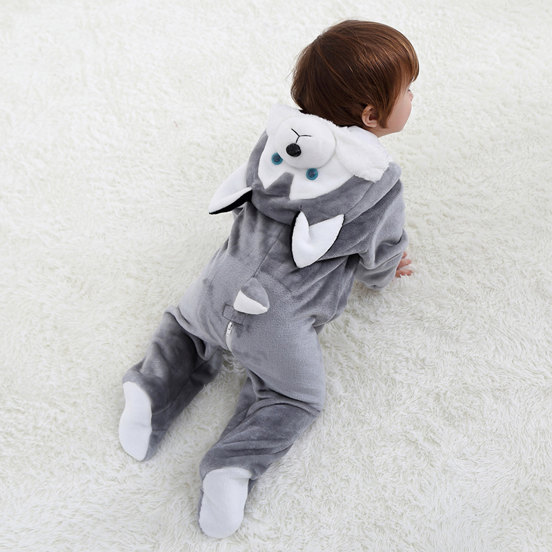 U99oi-9 Long Sleeve Cotton Rompers for Baby Boys and Girls Soft Cartoon USA Playsuit