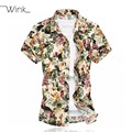 Floral Printing Summer Short Sleeve Mens Shirt Luxury Casual Dress Slim Fit Plus Size 6xl Brand Comfortable Men New Arrival S086