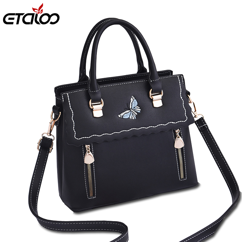Female Bag 2018 New Ladies Bag Leather Handbag Floral Embroidery Shoulder Handbag Woman Shoulder Bags 2017 new chinese folk style embroidered ladies handbag women shoulder bag canvas embroidery rose azalea female crossbody bags