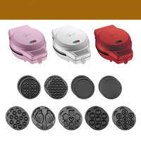 220V 3 Color Available 9 Plates Available For Choosing Household Electric Waffle Maker Machine Donut Pancake Fish Waffle Machine