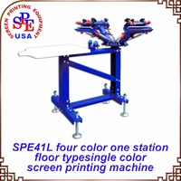 SPE41L Four Color One Station Single Wheel Screen Printing Machine Screen Press
