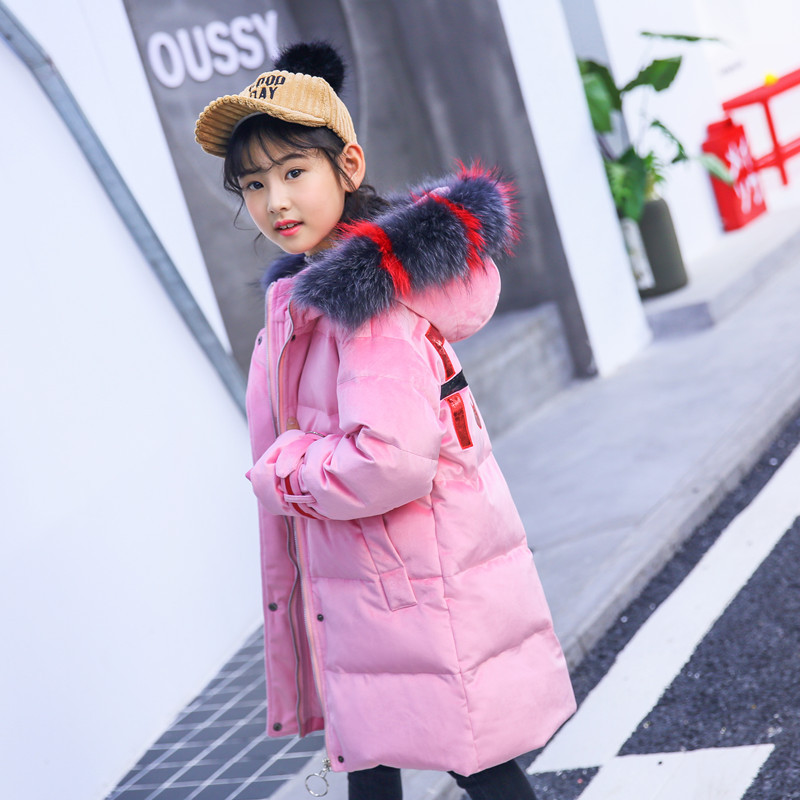 Girls down jacket long children's clothing jacket jacket 2018 warm teenage girls clothing winter jacket fur hooded size 6 -14 patrol patrol pa050awhvg11
