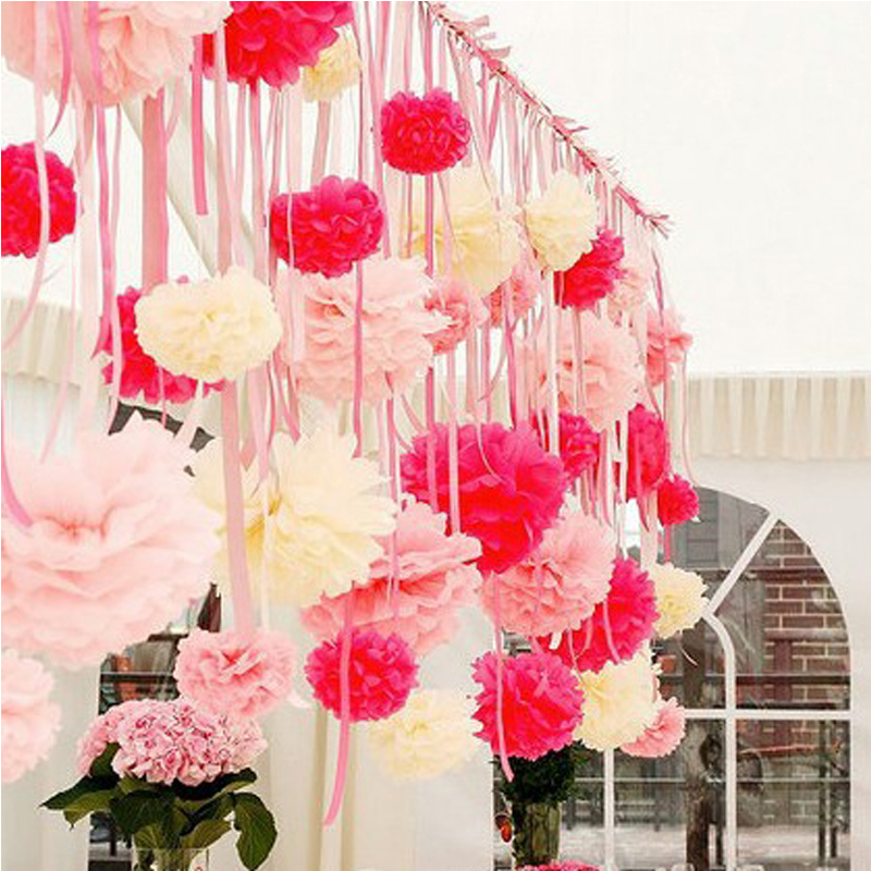 10pcs 8 diy tissue paper pompom paper flowers ball home for Home decorations with paper